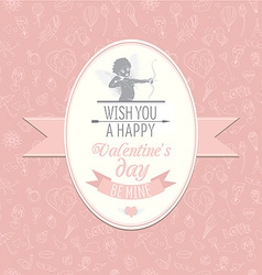Greeting card with cute Cupud Festive Valentines vector image