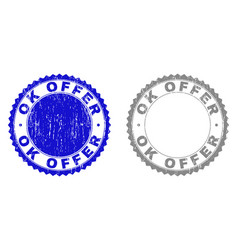 Grunge ok offer scratched stamps vector