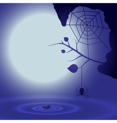 Halloween background with full moon and spider vector image