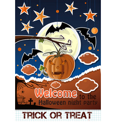 halloween paper art welcome to the night party vector image