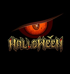 Halloween red eye design background vector