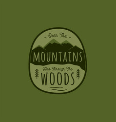 hand drawn adventure logo with mountain pine vector image
