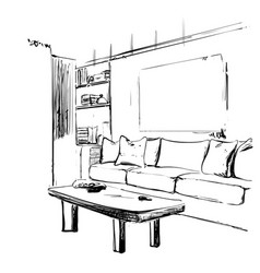 Hand drawn sketch modern living room interior vector