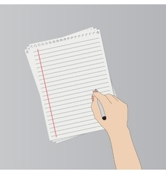 Hand with pen writing on a paper vector image