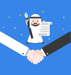 happiness tiny cute arab businessman jump on vector image