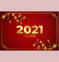 happy chinese new year 2021 sakura flowers on red vector image