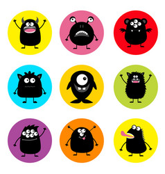 happy halloween cute monster round icon set black vector image