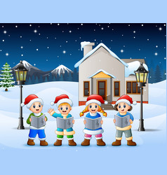 happy kid wearing santa hat vector image
