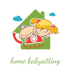 Home babysitter concept with funny boy and girl vector