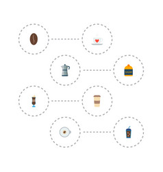 Icons flat style sugar latte percolator and vector