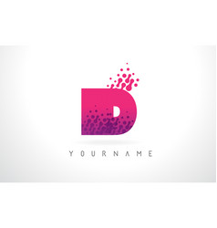 Id i d letter logo with pink purple color and vector