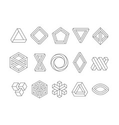 illusion shapes 3d geometrical infinity loop vector image