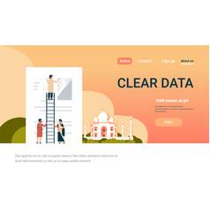 indian businessman erasing information clear data vector image