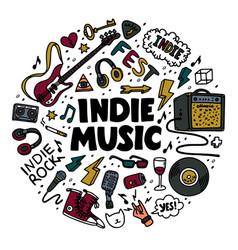 Indie rock round composition color vector