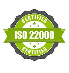 iso 22000 standard certificate badge vector image