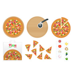 isometric delicious pizza with ingredients vector image