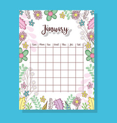 January calendar with flowers plants and leaves vector