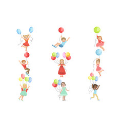 kids with party balloons set of simple design vector image