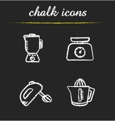 Kitchen tools chalk icons set vector image