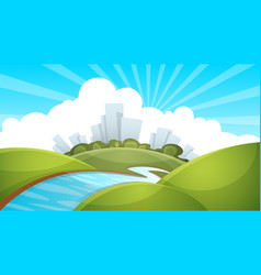 Landscape city river cloud sun vector