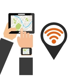 location pin and hand holding a tablet vector image