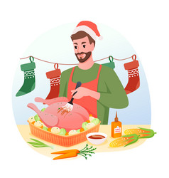 Man is cooking traditional christmas turkey vector