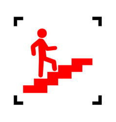 man on stairs going up red icon inside vector image