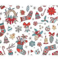 Merry christmas hand drawn doodle seamless pattern vector