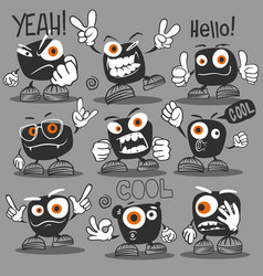 monster set sticker design template art vector image