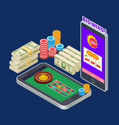 online casino or gambling with banknotes and chips vector image