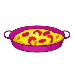Paella with seafood on pan icon cartoon style vector image