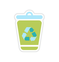 Paper sticker on the white background dumpster vector