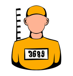 prisoner in hat with number icon icon cartoon vector image