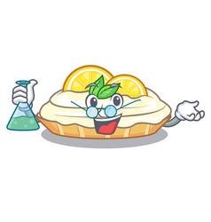 Professor cartoon lemon cake with lemon slice vector