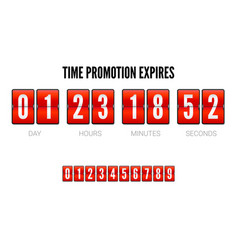 Promotions expires analog flip clock timer vector