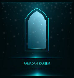Ramadan greeting card with window vector