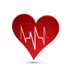 Red heart sign with heartbeat line vector