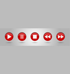 Red music control buttons set vector