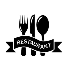 Restaurant black symbol vector