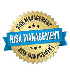 Risk management round isolated gold badge vector