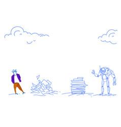 robot vs human modern robotic machine man working vector image
