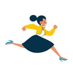 Running business woman character in suit vector