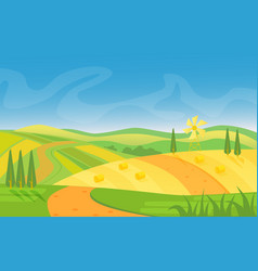 Rural beautiful landscape fields and hills at vector