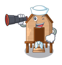 Sailor with binocular chicken in a on charater vector
