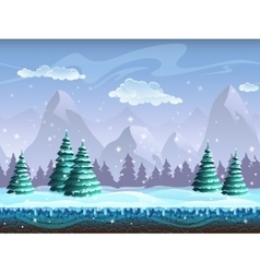 Seamless cartoon winter landscape background vector