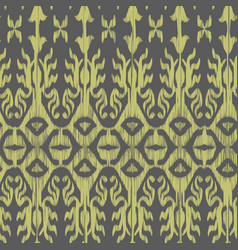 seamless ikat pattern grey and yellow vector image