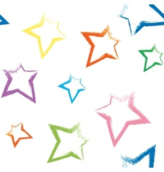 Seamless pattern with brush painted stars vector image
