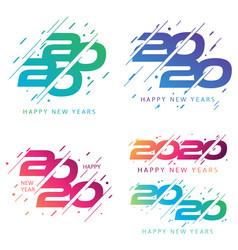 Set happy 2020 new year insta color banner vector