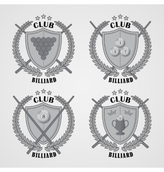 Set of billiard logos and design elements vector image