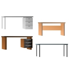 Set of desks for office equipment vector image